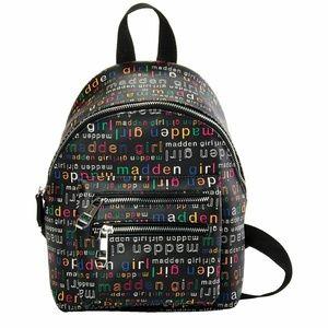 Madden Girl Black Multi Logo Medium Backpack Purse